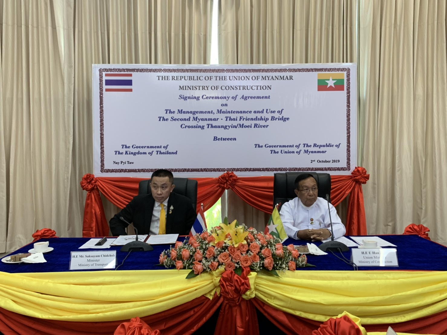 Minister of Transport of Thailand signed the MoU on The Management, Maintenance and Use of the Second Myanmar - Thai Friendship Bridge Crossing Thaungyin/Moei River