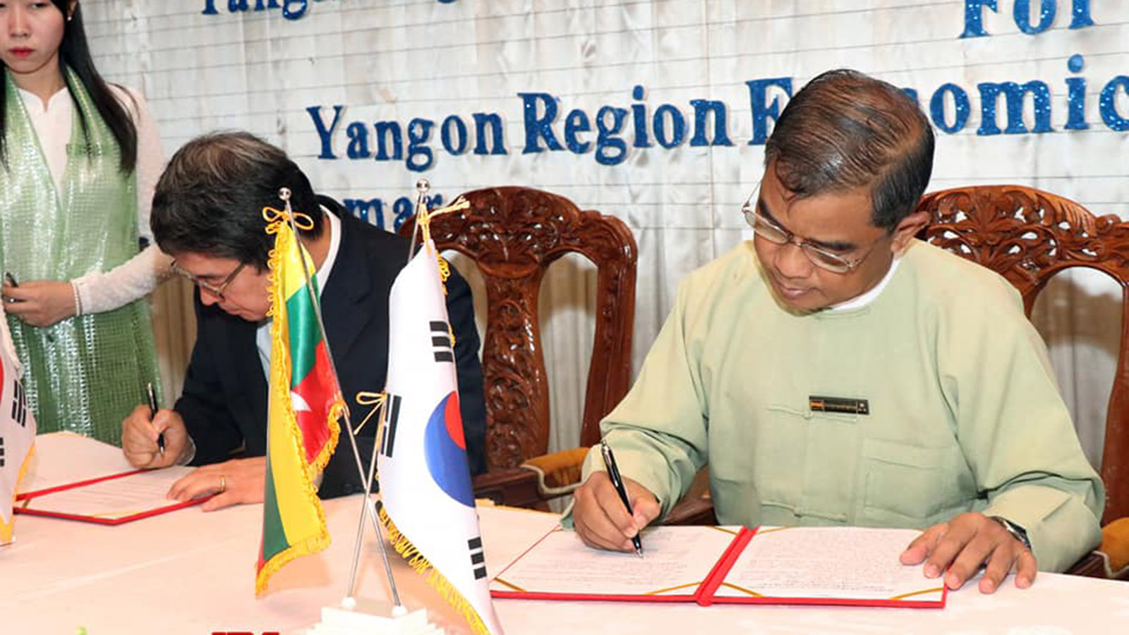 Yangon Regional Government and South Korea based company, Myanmar Wooree Company signed a MOU for Yangon Region Economic Development project to improve businesses in the commercial city of Yangon