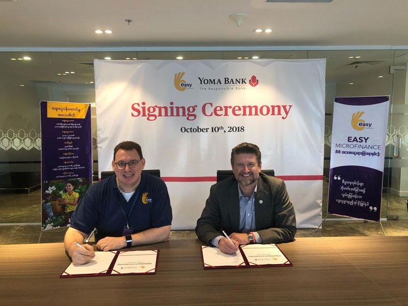 Yoma Bank and MC Easy Microfinance Company limited signed two funding agreements of MMK 4 billion each to enable Easy Microfinance to extend its operations and serve financial assistance in seeding capital for their business' operations
